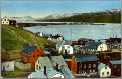 Postcard of Akureyri, artist unknown